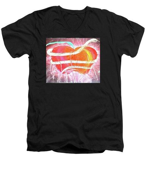 The Bleeding Heart Of The Illuminated Forbidden Fruit Men's V-Neck T-Shirt