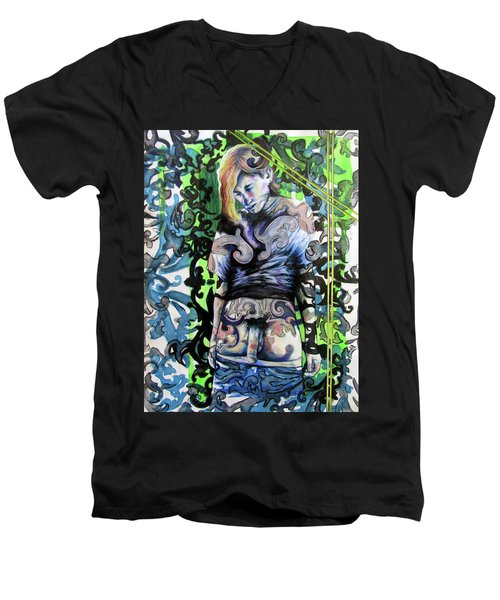 Men's V-Neck T-Shirt featuring the painting The Blond Bomber  by Rene Capone