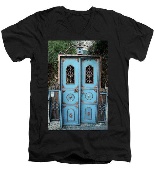 The Blue And Gold Door Of Jerusalem Men's V-Neck T-Shirt by Yoel Koskas