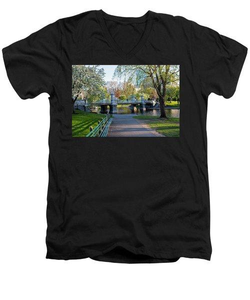 The Boston Public Garden In The Spring Boston Ma Men's V-Neck T-Shirt