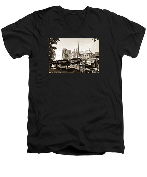 The Bouquinistes And Notre-dame Cathedral Men's V-Neck T-Shirt by Perry Van Munster