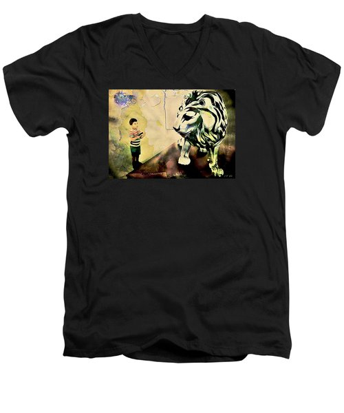 The Boy And The Lion Graffiti Creator,street-art Graffiti,street-art,graffiti Art Street,banksy Art, Men's V-Neck T-Shirt
