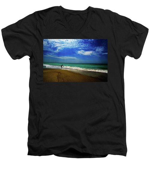 Men's V-Neck T-Shirt featuring the photograph The Boy At The Beach  by John Harding