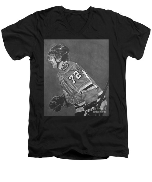 Men's V-Neck T-Shirt featuring the drawing The Breadman by Melissa Goodrich