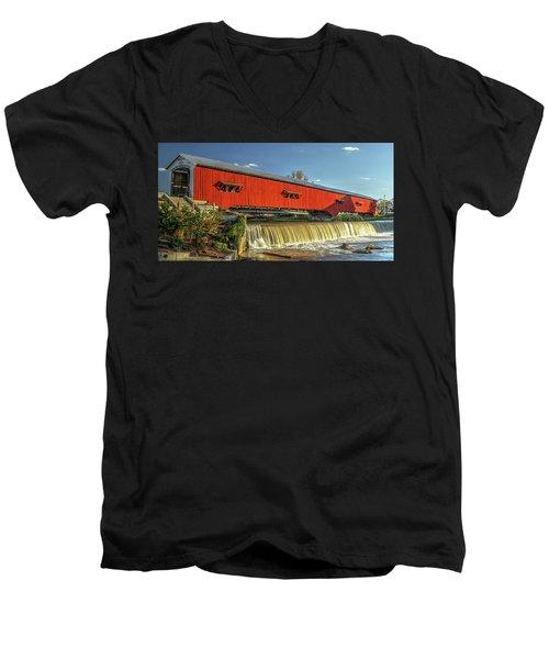 Men's V-Neck T-Shirt featuring the photograph The Bridgeton Covered Bridge by Harold Rau