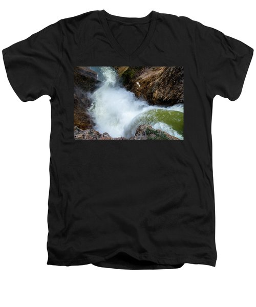 The Brink Of The Lower Falls Of The Yellowstone River Men's V-Neck T-Shirt