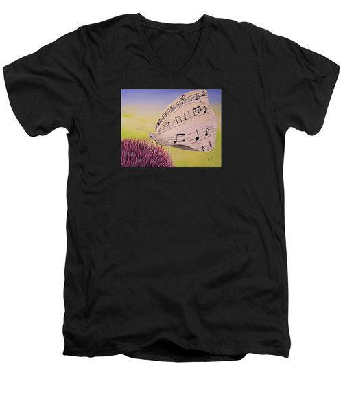 Men's V-Neck T-Shirt featuring the painting Butterfly Song by Edwin Alverio