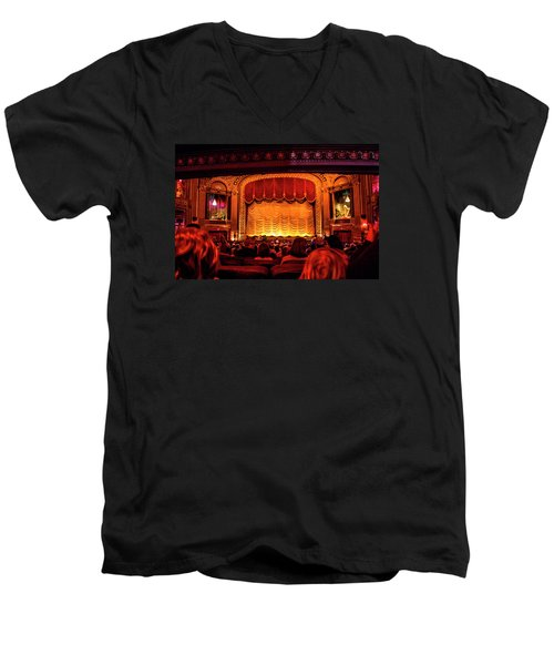 Men's V-Neck T-Shirt featuring the photograph The Byrd Theatre by Jean Haynes