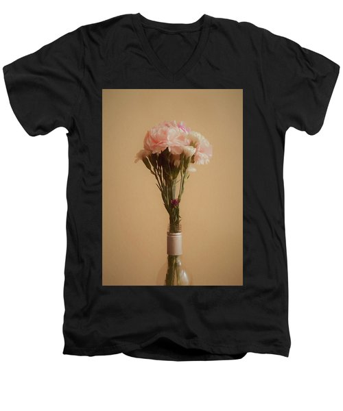 Men's V-Neck T-Shirt featuring the digital art The Carnations by Ernie Echols