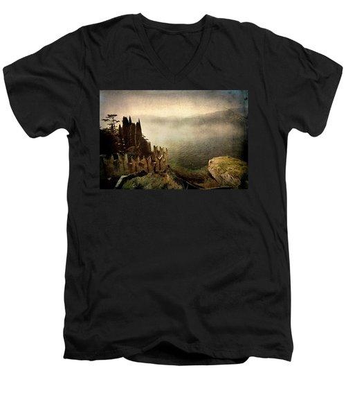 The Castle On The Lake. Malcesine Men's V-Neck T-Shirt