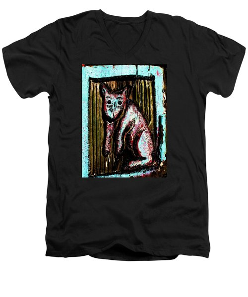 Men's V-Neck T-Shirt featuring the photograph The Cat by John King