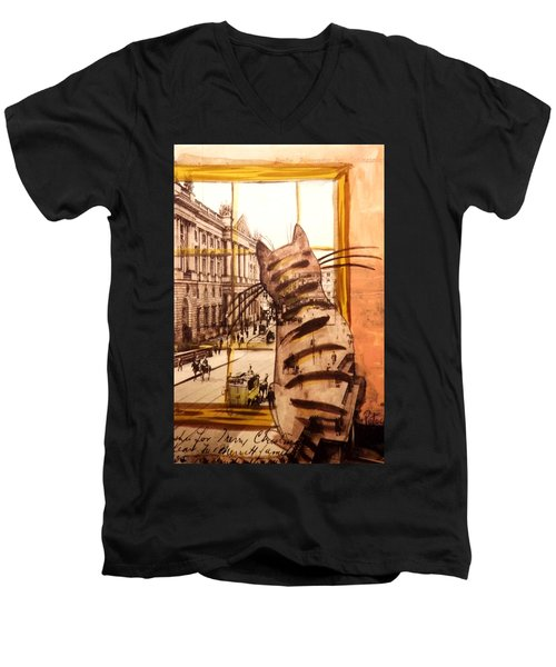 The Cat Who Saw Everything Men's V-Neck T-Shirt