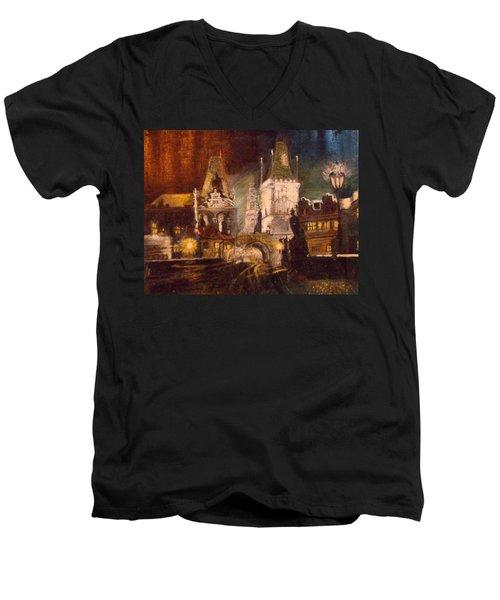 The Charles Bridge In Prague At Night Men's V-Neck T-Shirt