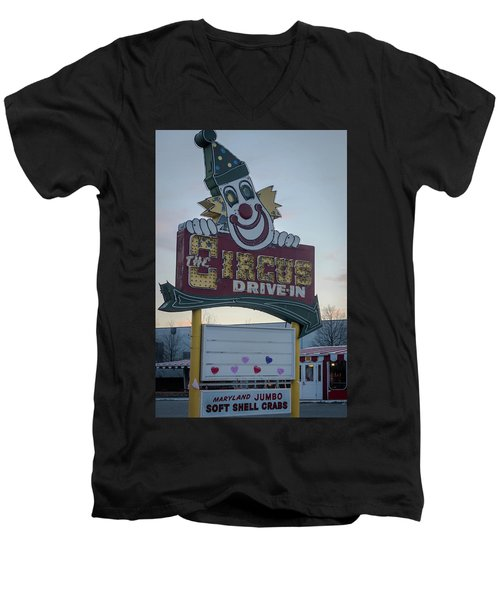 Men's V-Neck T-Shirt featuring the photograph The Circus Drive In Sign Wall Township Nj by Terry DeLuco