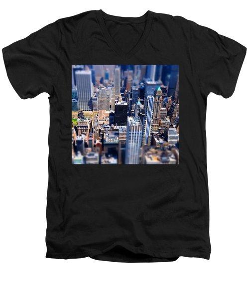 The City  Men's V-Neck T-Shirt by Mckenzie Weldon
