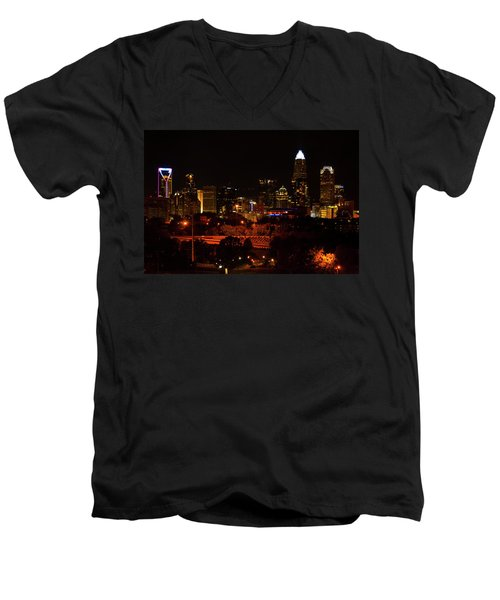Men's V-Neck T-Shirt featuring the digital art The City Of Charlotte Nc At Night by Chris Flees