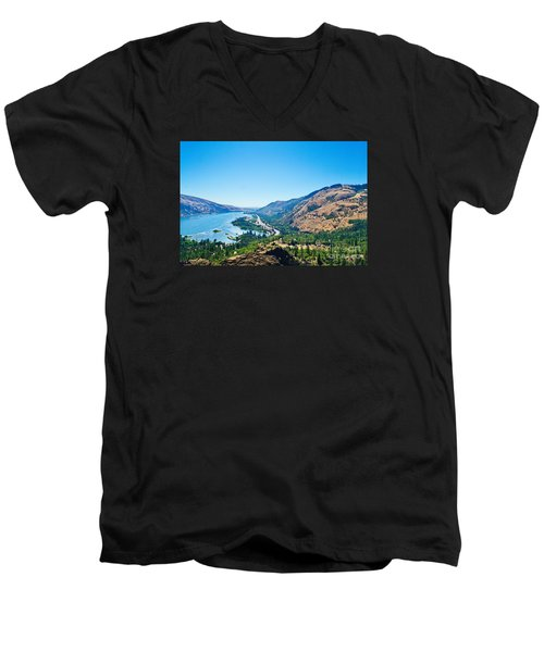 The Columbia River Gorge Men's V-Neck T-Shirt by Ansel Price