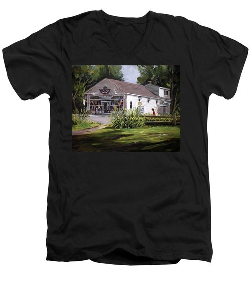 Men's V-Neck T-Shirt featuring the painting The Country Store by Nancy Griswold