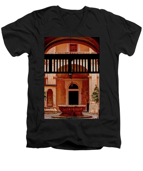 The Court Yard Malta Men's V-Neck T-Shirt by Tom Prendergast