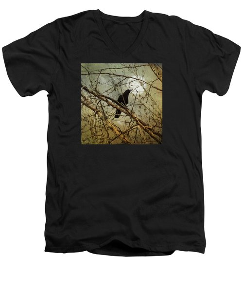 The Crow And The Moon Men's V-Neck T-Shirt by Theresa Tahara