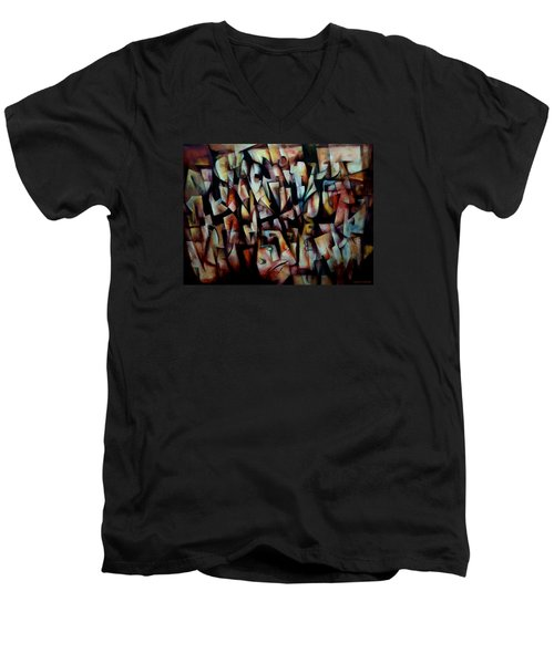 Men's V-Neck T-Shirt featuring the painting The Crowds by Kim Gauge
