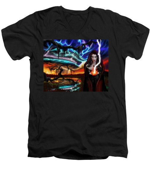 Men's V-Neck T-Shirt featuring the painting The Dark Caster Calls The Storm by James Christopher Hill
