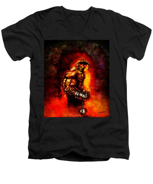 Men's V-Neck T-Shirt featuring the digital art The Devil's Henchman by Kim Gauge