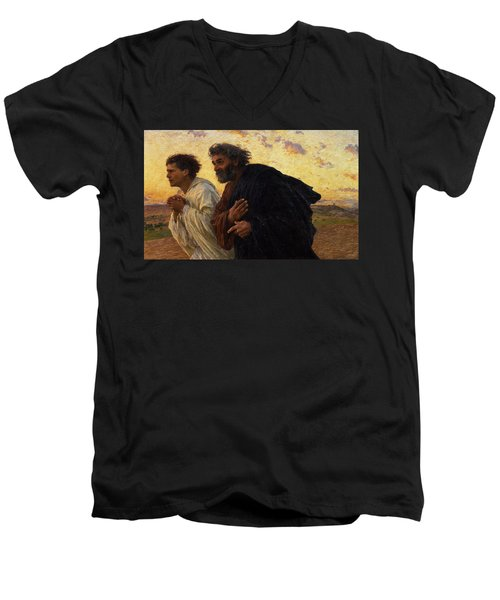 The Disciples Peter And John Running To The Sepulchre On The Morning Of The Resurrection Men's V-Neck T-Shirt