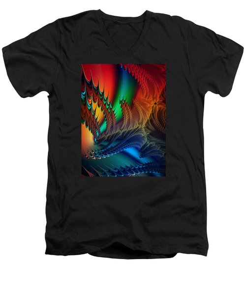 Men's V-Neck T-Shirt featuring the digital art The Dragon's Den by Kathy Kelly