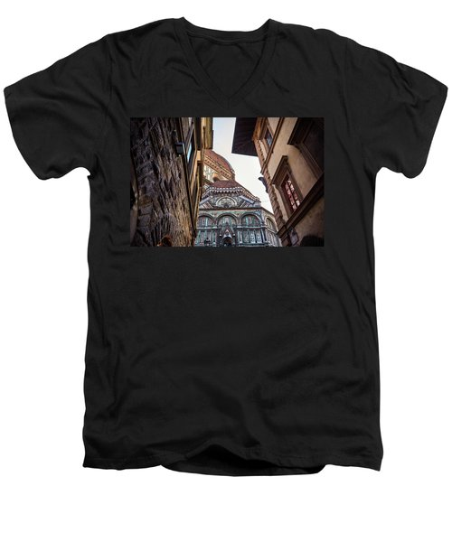 The Duomo Surrounded By Medieval Buildings In Florence, Italy Men's V-Neck T-Shirt