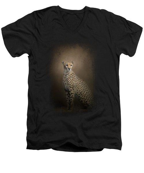 The Elegant Cheetah Men's V-Neck T-Shirt by Jai Johnson
