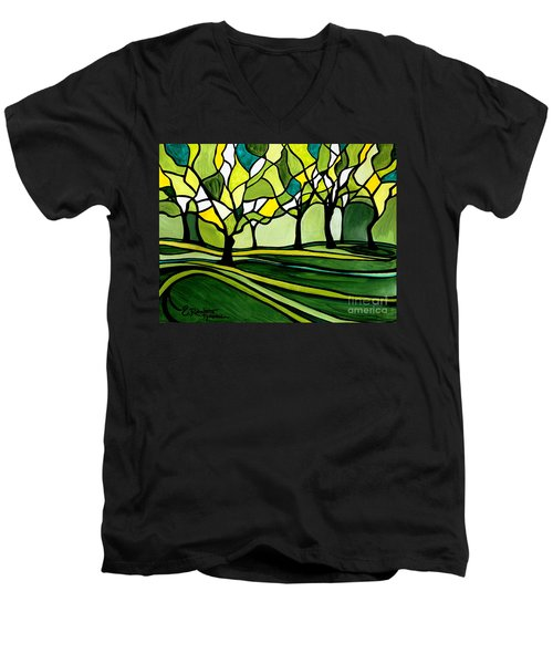 The Emerald Glass Forest Men's V-Neck T-Shirt