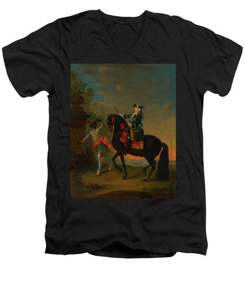 Men's V-Neck T-Shirt featuring the painting The Empress Elizabeth Of Russia by Georg Grooth