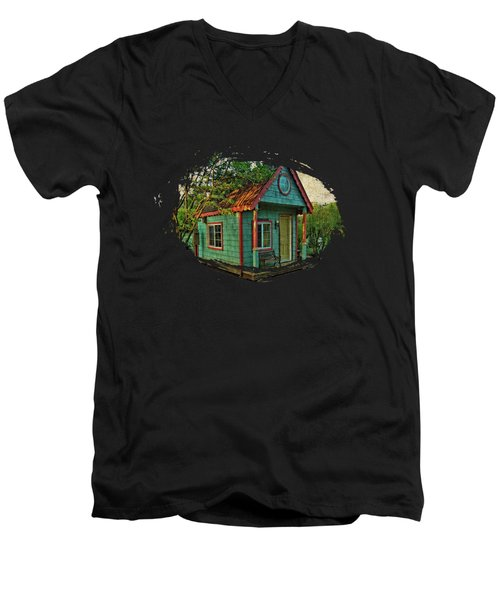 Men's V-Neck T-Shirt featuring the photograph The Enchanted Garden Shed by Thom Zehrfeld