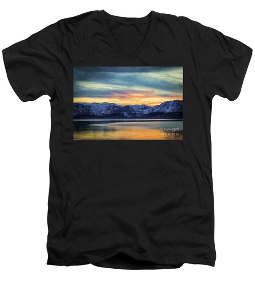 The Evening Colors Men's V-Neck T-Shirt by Mitch Shindelbower