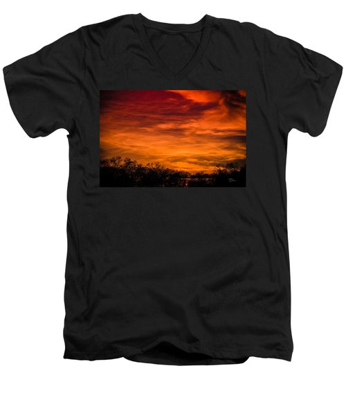 The Evening Sky Of Fire Men's V-Neck T-Shirt by David Collins