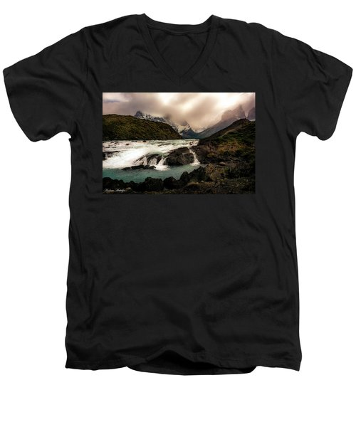 Men's V-Neck T-Shirt featuring the photograph The Falls by Andrew Matwijec
