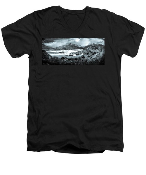 The Falls In Black And White Men's V-Neck T-Shirt by Andrew Matwijec
