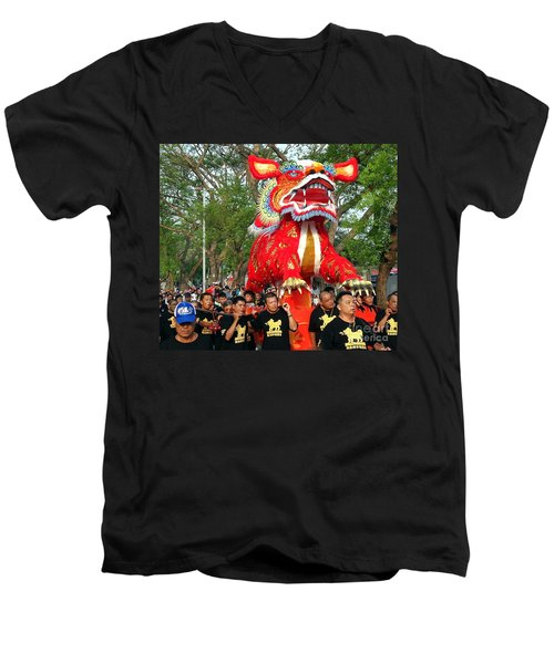 The Fire Lion Procession In Southern Taiwan Men's V-Neck T-Shirt by Yali Shi