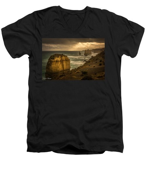 Men's V-Neck T-Shirt featuring the photograph The Fire Sky by Andrew Matwijec