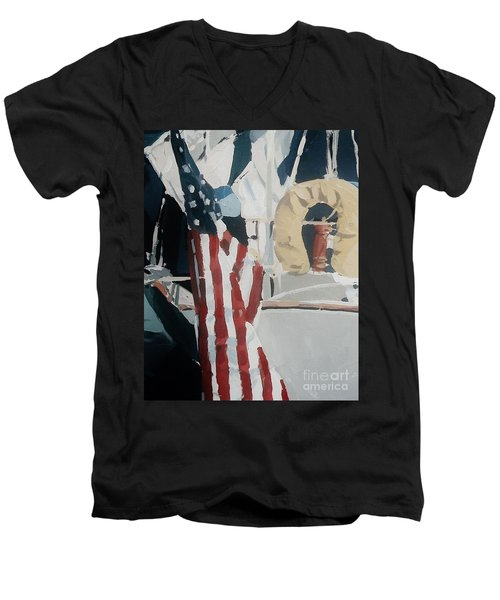 The Flag Men's V-Neck T-Shirt by Andrew Drozdowicz
