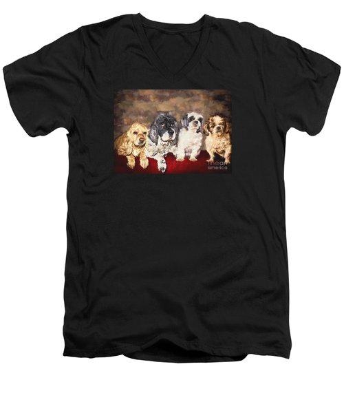 The Four Amigos Men's V-Neck T-Shirt by Janice Rae Pariza