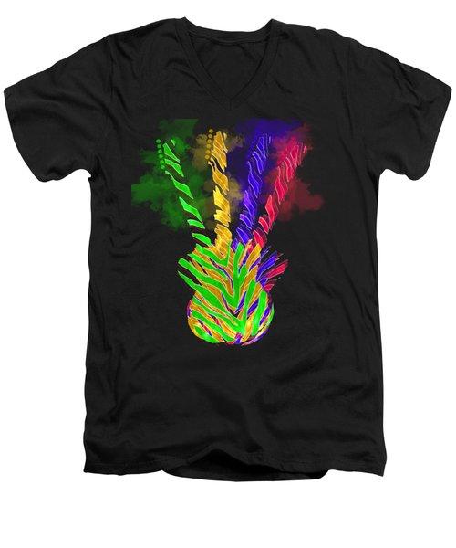 Men's V-Neck T-Shirt featuring the digital art The Four Guitars by Guitar Wacky