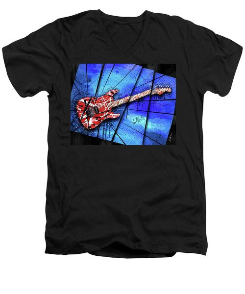 The Frankenstrat On Blue I Men's V-Neck T-Shirt by Gary Bodnar