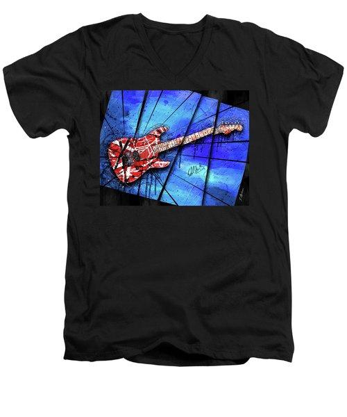 The Frankenstrat On Blue I Men's V-Neck T-Shirt