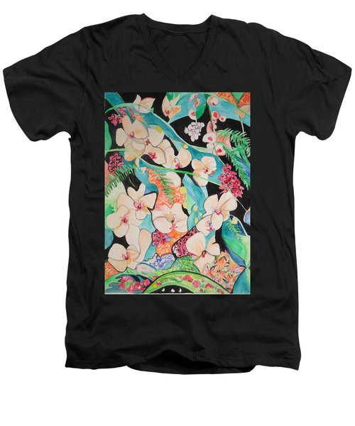 Men's V-Neck T-Shirt featuring the painting The Gallery Of Orchids 1 by Esther Newman-Cohen