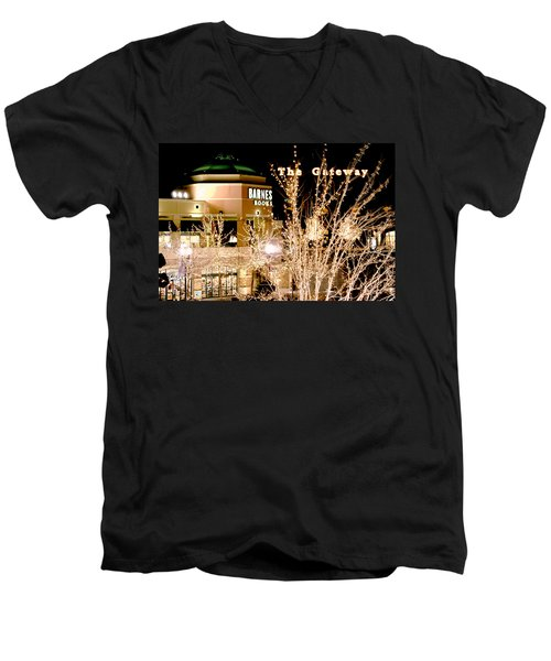 Men's V-Neck T-Shirt featuring the digital art The Gateway Mall by Gary Baird
