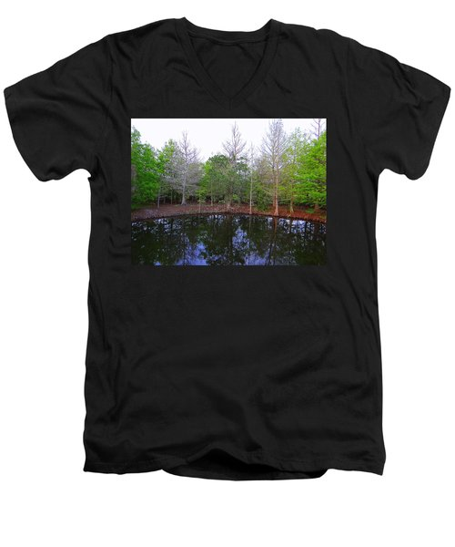 The Gator Hole At Green Cay In Florida Men's V-Neck T-Shirt