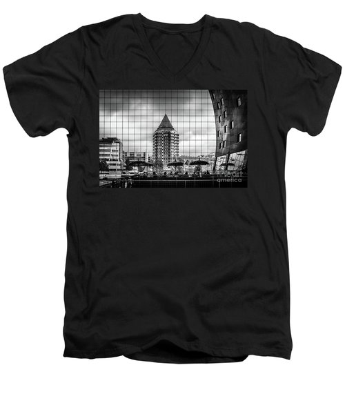 Men's V-Neck T-Shirt featuring the photograph The Glass Windows Of The Market Hall In Rotterdam by RicardMN Photography