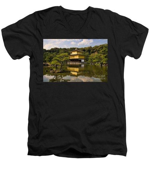 The Golden Pagoda In Kyoto Japan Men's V-Neck T-Shirt by David Smith